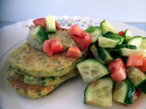 corn fritters with side salad
